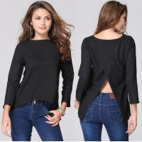 Latest Fahsion Halter Crop Ladies / Women'S Chiffon Blouses And Tops Black Blue Color Manufactures
