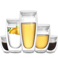 China Heat Proof Clear Double Wall Glass Cup Customized Logo / Capacity Round Shape on sale