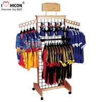 China Wooden Retail Clothing Store Fixtures Grid Wall Panel Display With Hooks on sale