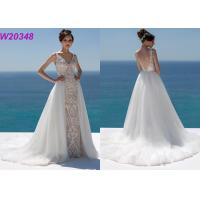 Lace And Sequinned V Neckline Mermaid Style Wedding Dress Detachable Over Skirt Manufactures