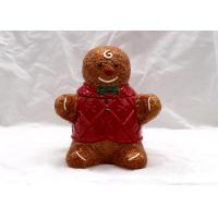 Gingerbread Man Ceramic Cookie Jar Holiday Gifts With Red Cloth Cookie Jar Manufactures