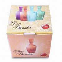 Glass Wine Bottle with Embossed Surface and Tie-in Color Box Packaging Manufactures