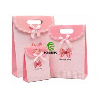 White Cardboard Gift Retail Paper Shopping Bags With Bowknot Ribbon Custom Logo Manufactures