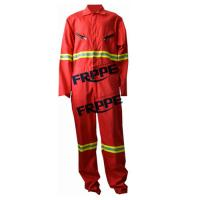 China Red 100 Fire Resistant Coveralls With Reflective Tape For Welder Workwear on sale