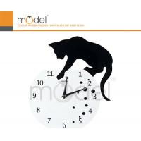 Antique Cat Design White Acrylic Digital Wall Clock Decoration For Office Manufactures