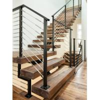 Carbon steel center stringer L-shape solid wood staircase with glass railing Manufactures