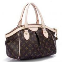 Lady's Golden Brass Canvas LV Monogram Handbags Tivoli PM with Oxidizing Leather Handle Manufactures