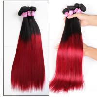Soft 7A Ombre Brazilian Virgin Hair 1B / Red Ombre Straight Hair 3 Bundles For Adult Manufactures