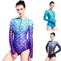 Long Sleeve Mermaid Tail Swimsuit UV Protection 3D Fish Scales Printing Manufactures