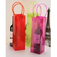 China Strong PVC Plastic Bag Single Wine Bottle Vinyl Wine Bag Holder Green on sale