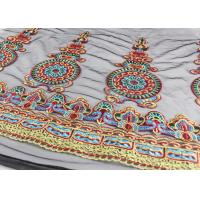 47 Inches Dresses Multi Colored Lace Fabric , Polyester Embroidered Floral Tulle Fabric Manufactures