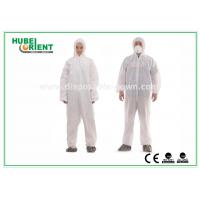 Type 5 / 6 Disposable Coveralls with Hood Splash Proof SMS Chemical Coveralls Manufactures
