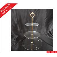 3 Layers Acrylic Transparent Round Cake Stand With Golden Or Silver Scents Manufactures