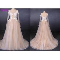 Long sleeves see through lace with pearls beading tulle a line wedding dress Manufactures