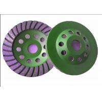 105mm 4 Diamond Turbo Cup Wheel , Diamond Concrete Grinding Disc Green Color Manufactures