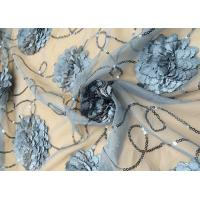 3D Embroidered Flower Sequin Lace Fabric With Cirrus Beaded For Ceremony Gown Manufactures