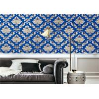 Blue Waterproof Classic Vintage Wallpaper For Walls Background , Vinyl Materials Manufactures