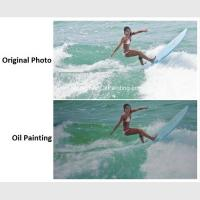 China Realistic Custom Oil Painting Portraits Surf Lady Sports Oil Paintings From Picture on sale