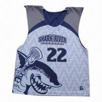 Lacrosse reversible vest, made of 100% poly dri fit micro mesh with custom designs Manufactures