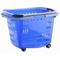 China Big Shopping Basket With Wheels / Plastic Rolling Cart With Handle Aluminum Alloy on sale