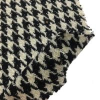 Soft Hand Feeling Heavy Wool Fabric / Tweed Houndstooth Fabric For Fashion Coat Manufactures