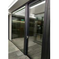 China Frameless Demountable Glass Partitions Sliding With Timber Veneered Doors on sale