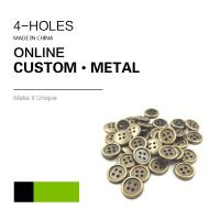 Custom 4 Holes Metal Clothing Buttons Antique Brass Color Bulk Fashion Apparel Manufactures