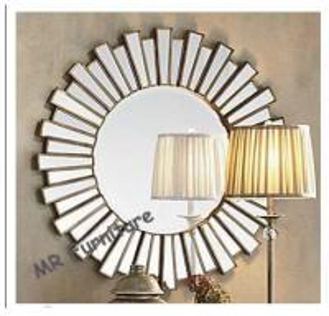36 Inch Wooden Strips 3d Mirror Wall Art, Modern Wood Framed Wall Mirrors