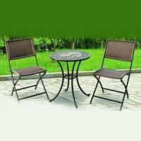 Mosaic K/D Table with Rattan Folding Chair, Measures 23.6 x 26.7 Inches Manufactures