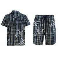 Anti Pilling Mens Luxury Sleepwear Woven Cotton Poplin Yarn Dyed Pajamas Shorts Manufactures