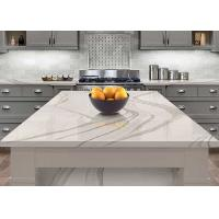 OEM Long Kitchen Worktops With Grey Stripe Luxury Edging Quartz Kitchen Top Manufactures