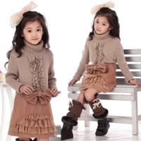 Bow Lace Blocked Woolen Girls Winter Skirts , Comfy Elastic Waist A Line Skirt Manufactures