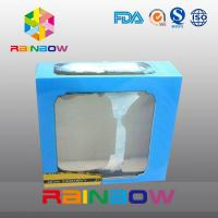 China Blue Customized Printing And Size Waxed Cardboard Paper Box With Clear PVC Window on sale