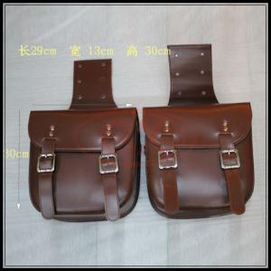 China Cafe Racer Saddle Bag Leather Brown Black Vintage Saddle Bag Motorcycle Tool Bag 29*13*30cm on sale