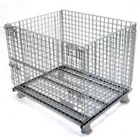 China Easy Clean Wire Mesh Pallet Cages , Warehouse Cages On Wheels Rust Resistant on sale