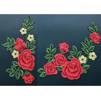 Colorful Polyester Neckline Embroidered Applique Patches With Large Red 3D Flower Manufactures