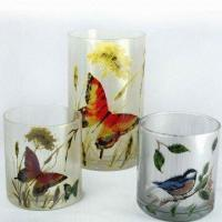 Colored Glass Candle Holders with Butterfly Decal Finish Manufactures