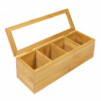 Adjustable Popular Wooden Tea Bag Box 4 Compartment Rectangle Shaped Manufactures