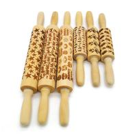 Halloween Design Embossed Bamboo Wood Rolling Pin embossing rolling pin Manufactures
