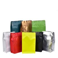 Eight-sided zipper bag flat bottom black aluminum foil ziplock bags stand up pouches for air valve coffee bean wholesale Manufactures