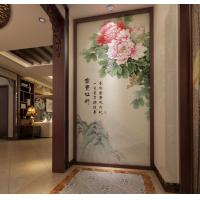 Peony Leaf Faux Leather Wall Covering Bamboo Fiber 3D Decorative Wall Panels Manufactures