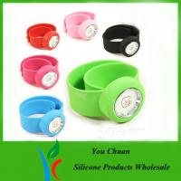 Pink / Purple / Red Silicone Snap Slap Wristband Watch With Hello Ketty face Manufactures
