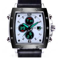Dual Display analog and digital custom logo watches waterproof 30m men Leather strap wrist watches Manufactures