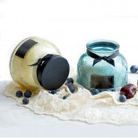 China Lace Pattern Glass Soy Candle Jar Natural Soy Wax Candles on sale