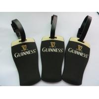 GUINNESS Custom Black Shaped Rubber PVC Luggage Tag With Brand Name Embossed Eco Friendly Manufactures
