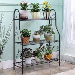 H257 Flower Pot Metal Display Shelf Sturdy Metal Construction Black Paint Plated