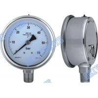 China 4 Inch tube bottomgauge stainless steel pressure gauge 304 roll ring type on sale