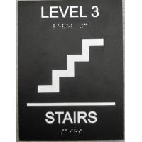 """Tactile Text 6""""X8"""" ADA Stair Signs , Black Interior ADA Signs Grade II Braille Straight  Edge"""