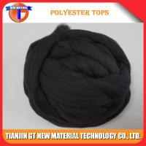 Black Virgin Polyester Tops 3Dx88MM - 120MM for Woolen Spinning Yarn, Virgin Polyester Top Manufactures