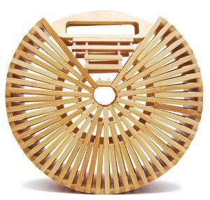 China Factory wholesale fashion beach bamboo handbags, 20cm round hand bamboo bag, shoulder bamboo bags on sale